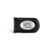South Carolina Fighting Gamecocks Leather Croco Black Magnetic Money Clip