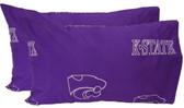 Kansas State Printed Pillow Case- (Set of 2) - Solid