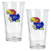 Kansas Jayhawks 2pc Pint Ale Glass Set