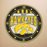 "Iowa Hawkeyes 12"" Art Glass Clock"