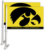 Iowa Hawkeyes   Car Flag w/Wall Bracket Set Of 2