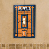 Illinois Fighting Illini Art Glass Switch Cover