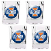 Illinois Fighting Illini 4pc Square Shot Glass Set