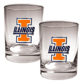 Illinois Fighting Illini 2pc Rocks Glass Set