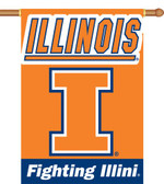 "Illinois Fighting Illini 2-Sided 28"" x 40"" Banner w/ Pole Sleeve"