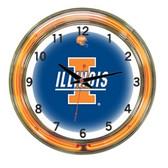 """Illinois Fighting Illini 18"""" Neon Wall Clock"""