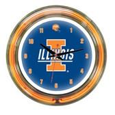 """Illinois Fighting Illini 14"""" Neon Wall Clock"""