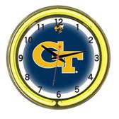 "Georgia Tech Yellow Jackets 18"" Neon Wall Clock"