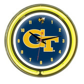 "Georgia Tech Yellow Jackets 14"" Neon Wall Clock"