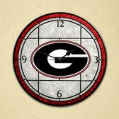 "Georgia Bulldogs 12"" Art Glass Clock"