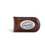 Florida Gators Croco Tan Leather Magnetic Money Clip