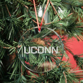 Connecticut Huskies Round Crystal Christmas Ornament