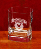 Baylor Bears Deep Etched Square Double Old Fashion Glass