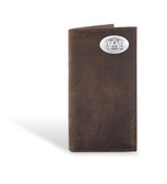 Auburn Tigers Crazy Horse Brown Leather Long Roper Wallet