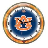 """Auburn Tigers 18"""" Neon Wall Clock"""