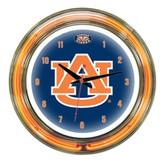 """Auburn Tigers 14"""" Neon Wall Clock"""