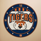 "Auburn Tigers 12"" Art Glass Clock"