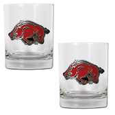 Arkansas Razorbacks 2pc Rocks Glass Set