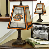 "Oklahoma State Cowboys 14"" Art Glass Table Lamp"