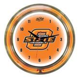 "Oklahoma State Cowboys 14"" Neon Wall Clock"