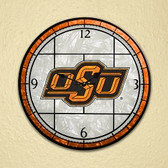 "Oklahoma State Cowboys 12"" Art Glass Clock"