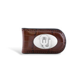 Oklahoma Sooners Croco Tan Leather Magnetic Money Clip