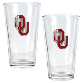 Oklahoma Sooners 2pc Pint Ale Glass Set