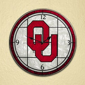 "Oklahoma Sooners 12"" Art Glass Clock"