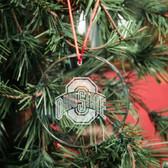Ohio State Buckeyes Round Crystal Christmas Ornament
