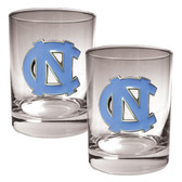 North Carolina Tar Heels 2pc Rocks Glass Set