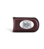 Nebraska Cornhuskers Brown Leather Magnetic Money Clip