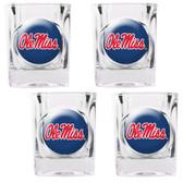 Mississippi Rebels 4pc Square Shot Glass Set