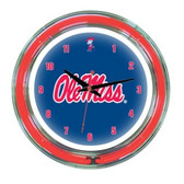 "Mississippi   Rebels 14"" Neon Wall Clock"