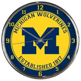 Michigan Wolverines Round Chrome Wall Clock