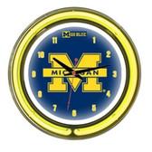 "Michigan Wolverines 14"" Neon Wall Clock"