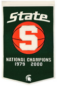 """Michigan State Spartans 24""""x36"""" Basketball Wool Dynasty Banner"""