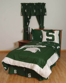 Michigan State Bed in a Bag Queen - With Team Colored Sheets