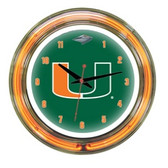 "Miami Hurricanes 14"" Neon Wall Clock"