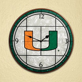 "Miami Hurricanes 12"" Art Glass Clock"