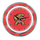 """Maryland Terrapins 14"""" Neon Wall Clock"""