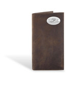 LSU Tigers Crazy Horse Brown Leather Long Roper Wallet