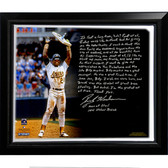 Oakland A's Rickey Henderson Facsimile 'Stolen Base Record' Story Stretched Framed 22x26 Canvas
