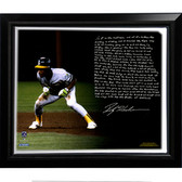 Oakland A's Rickey Henderson Facsimile 'World Series Earthquake' Story Stretched Framed 22x26 Canvas