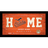 Baltimore Orioles 6x12 Home Sweet Home Sign with Game-Used Dirt from Oriole Park at Camden Yards