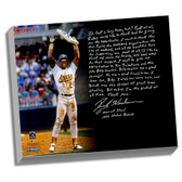 Oakland A's Rickey Henderson Facsimile Stolen Base Record Story Stretched  16x20 Canvas