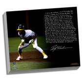 Oakland A's Rickey Henderson Facsimile World Series Earthquake Story Stretched  16x20 Canvas