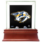 Nashville Predators Glass Single Puck Case with Team Logo Background