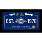Milwaukee Brewers 6x12 Kids Cave Sign with Game Used Dirt from Miller Park