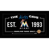 Miami Marlins 6x12 Kids Cave Sign with Game Used Dirt from Marlins Park