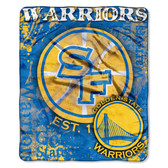 "Golden State Warriors 50""x60"" Royal Plush Raschel Throw Blanket - Drop Down Design"